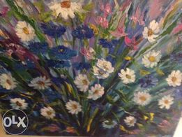 """Картина """"Цветы"""" холст 70х50 см ,масло"""