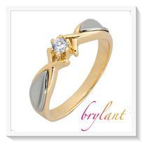 Pierścionek złoty z brylantem zaręczynowy 585 bikolor
