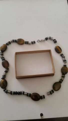 Wooden and silver hand crafted necklace