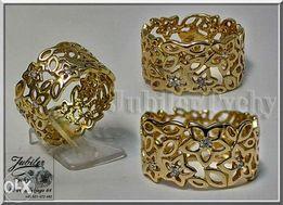 Duży złoty pierścionek KWIATY złoto Au 585 Jubiler Tychy