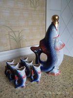 Фарфоровый коньячный набор (сервиз, статуэтка) Рыбки СССР