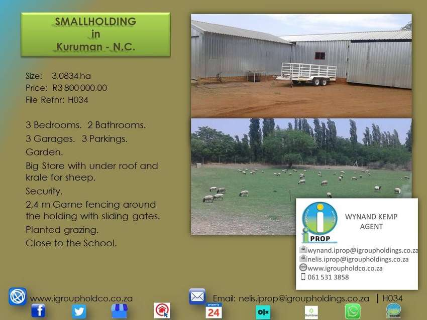 H034 - Smallholding in Kuruman, N-Cape. 0