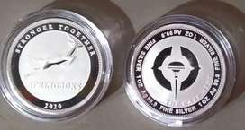 2 x 2020 Sterling Silver Proof Springbok Coins