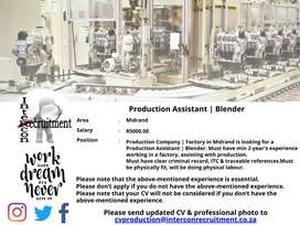 Production Assistant | Blender - Midrand