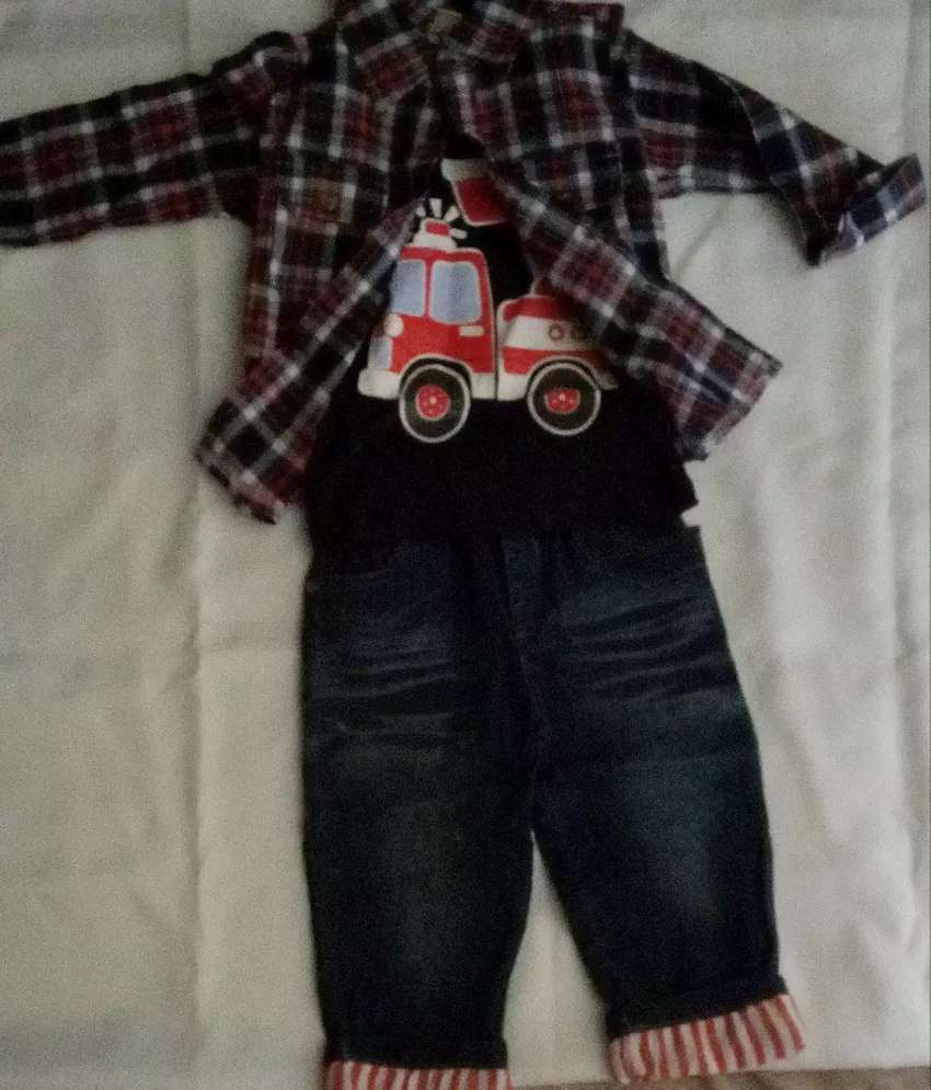 Baby shirt and jeans pants with suspenders 0