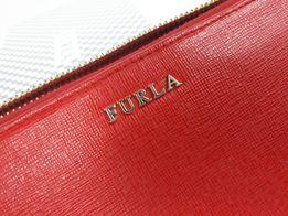 Portfel FURLA czerwony skórzany rosa portmonetka