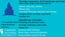 Carpenter, plumber, electrician and handyman services