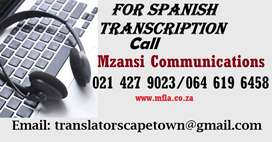 Spanish Transcription services in Northen Cape.
