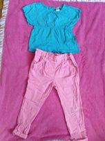 Koszulka niebieska, różowe neonowe spodnie