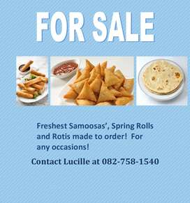 Fresh Samosa's, Spring Rolls and Roti's