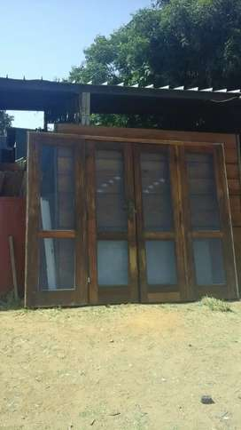 Wooden double French door + sides