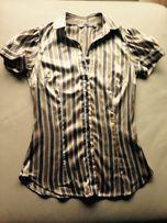 Koszula ZARA, prążki, wcięta w talii, kołnierzyk,brąz/beż, Rozm. XS/34