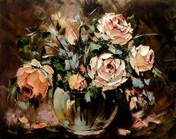 Obraz olejny - 40x50cm róże , kwiaty, bukiet