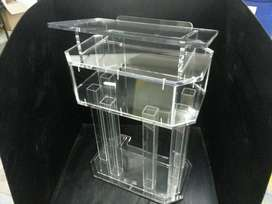 Clear white pulpits with logo