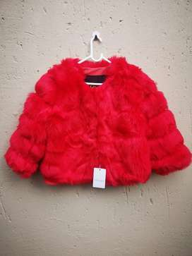 Thick Warm Faux Fur Coat - High Quality - Bright Red