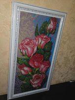 """Картина бисером """"Розовые розы"""""""