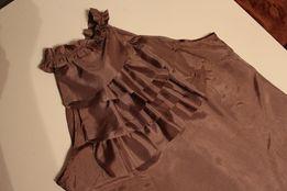 elegancka bluzka top z falbanką capucino rozm 40