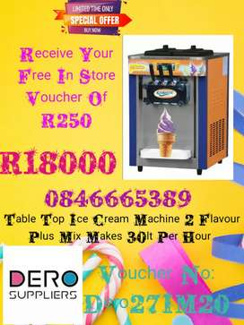 Table Top Ice Cream Machine 2 Flav plus Mix With Free Voucher