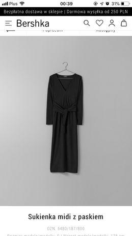 Długa czarna wiązana w pasie prążkowana sukienka Bershka Sukienka maxi Stary Kisielin - image 1