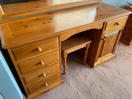 Dressing table and stool plus headboard for sale