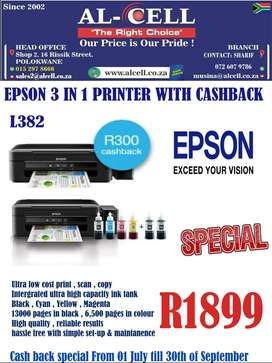 EPSON L382 3 IN 1 PRINTER WITH CASHBACK