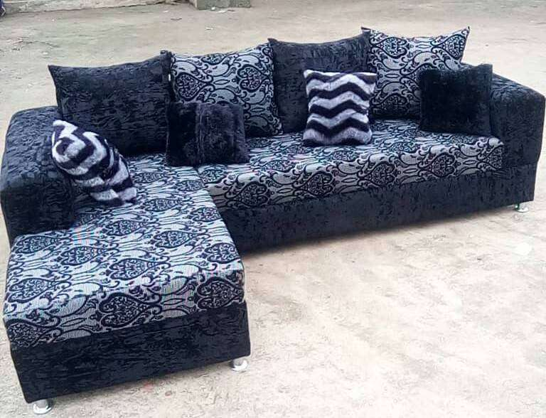 New L-shape sofas / chairs with throw pillows. Portable n durable 0
