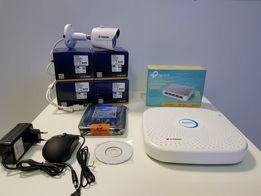 Zestaw Monitoringu 4 kamery tubowe IP FULL HD 2Mpx + akcesoria + POE