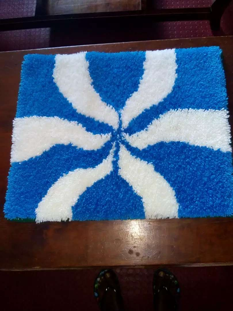 Handwoven mat sky blue and white in color ready for sale. 0