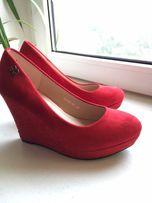 Туфли красные/ замшевые туфли/танкетка