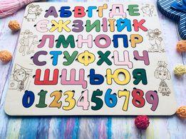 Деревянная азбука, деревянный алфавит. Дерев'яна абетка. С Мультяшками