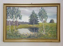 Polski sygnowany obraz olejny z około 1900 roku.