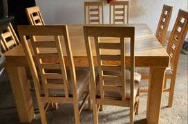 Solid Oak, 8 seater, Square Dinning Room Table with matching Server /S