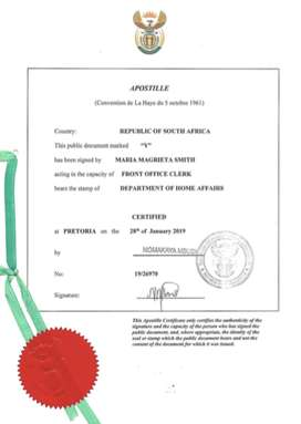 Apostille certificate for South Africa