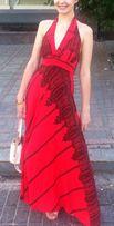 Красное платье в пол макси красное с черным