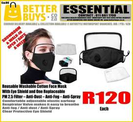 Reusable Washable Cotton Face Mask With Eye Shield and One Replaceable