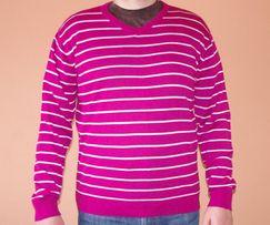 Пуловер John Devin Новый Темно-Вишневого Цвета В Полоску 52 Размер