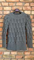 Oryginalny, szary sweter damski, r. M