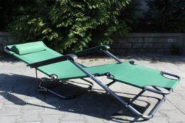 Składany leżak PLAŻOWY fotel ogrodowy leżanka zielony i niebieski pięk