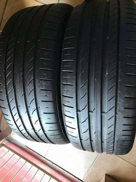 X2 good second hand tyres 225/40 R 18 Run flat Continental