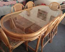 Cane dinning room table and chairs