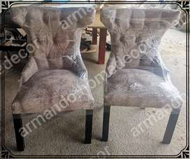 New comfortable dining chairs with buttons in beige fawn
