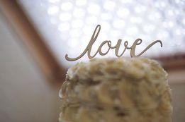 Ozdoba na tort/topper/ napis LOVE/ślubny topper