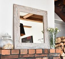 Lustro z ramą ze starego drewna rustykalne loft bielone białe
