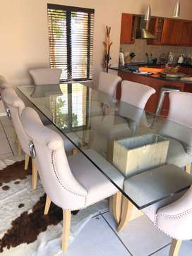Solid Glass Dining Table and Chairs