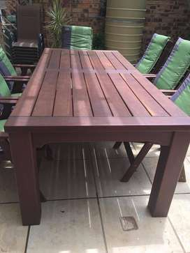 Solid wood teak 8 seater stoep furniture (all chairs with armrests)