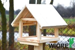 Duży Karmnik Domek dla ptaków Drewno Świerk XL