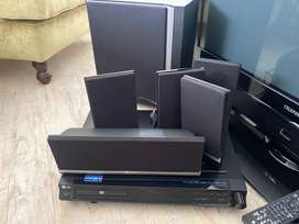 TV DVD and surround sound speaker and remotes