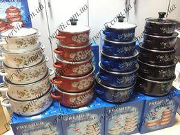 Набор эмалированных кастрюль со стеклянными крышками из 5 шт