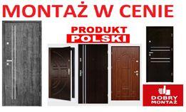Drzwi zewnętrzne WEJŚCIOWE do mieszkania -wewnątrzklatkowe z montażem