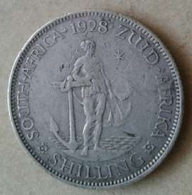 Scarce 1928 union silver shilling in nice collectible condition